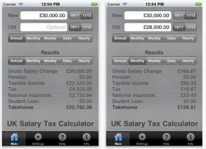iPhone UK Salary Calculator app